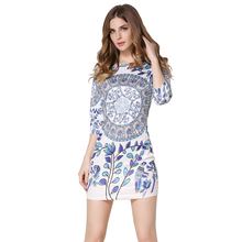 Vestidos New Fashion Designer Half sleeve Print Dress Classic retro Party Sheath Bodycon Mini Women Dress Sexy Club Dress 2016