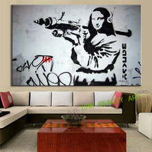 Canvas Painting Printed Banksy Graffiti Art Mona Lisa Bazooka Pop Art Decorative Pictures Wall Pictures For Living Room