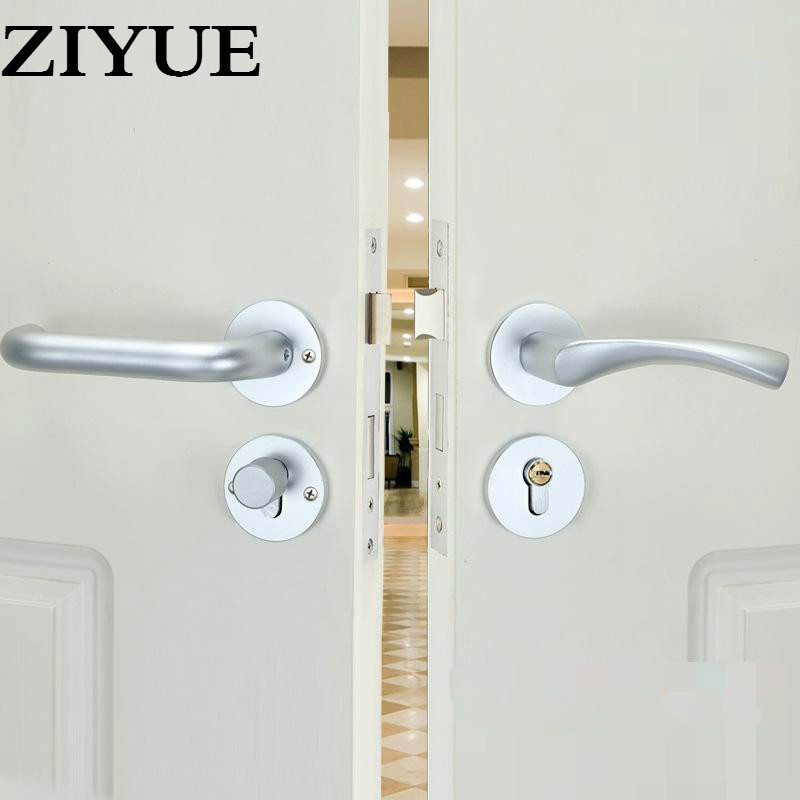 Free Shipping  Simple Sand White Space Aluminum Interior Door Wooden Locker Room Door Lock All-match Split  Handle Lock<br>