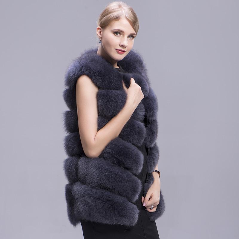 fox fur vest 6 lines dark grey 4