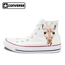 9d4c69e48222 Men Women Converse All Star Hand Painted Shoes Custom Design Animal Giraffe Man  Woman s High Top White Canvas Sneakers