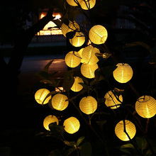 4M 10 LEDs Solar Powered Light Chinese Hanging Lantern String Light Outdoor Garden Yard Decoration Light Lamp RGB/Warm White