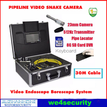 Pipe Drain Wall Inspection Color Camera System With 30M Cable Pipe Locator 512hz transmitter Keyboard Typing DVR Snake Camera