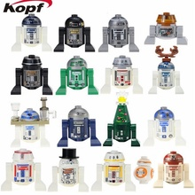 Single Sale R3-D5 Reindeer Christmas R2D2 With Tray Robot BB8 Han Solo SW424 RSF7 Star Wars Building Blocks Children Gift Toys