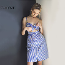 COLROVIE Blue Striped Ladies Summer Dress Women Sleeveless Bow Cut Out Backless Buttons A Line Short Spaghetti Strap Cami Dress