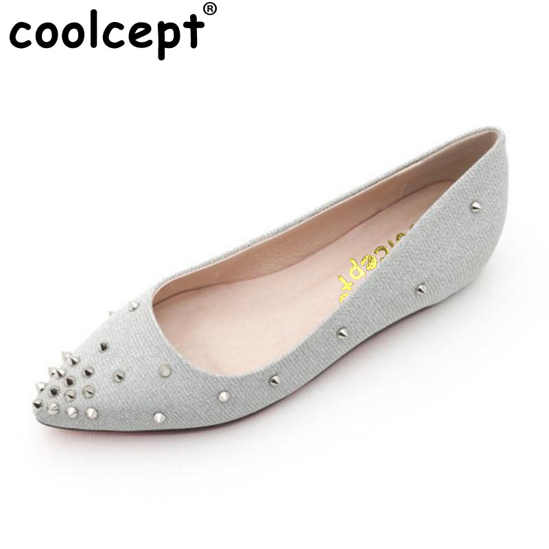 Coolcept Sexy Lady Real Leather High Heel Shoes Women Height Increasing Rivets Pumps Women Leisure Dating Footwears Size 34-39  <br>