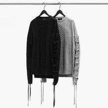 Tasseled Sleeves Streetwear Men Argyle Knitting Pattern Sweaters Mens Oversized Knitted Pullovers Lace Up Design High Street