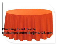 "5pcs 132"" Orange  Round Cloth Made Of  210GSM Polyester, Round  table cloth For Wedding &Hotel&Banquet"