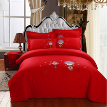 Cartoon Chinese Bride and groom embroidery 4pcs wedding bedding sets/ duvet cover bed sheet pillowcase 100% cotton king queen