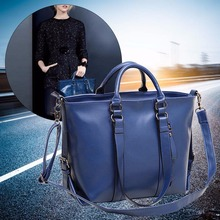 Deep blue Fashion Lady Shoulder Bag Tote Purse Oiled Leather Women Messenger(China)