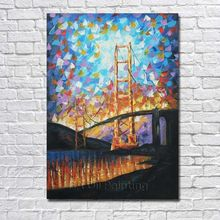Hand-painted Wall Art Palette Knife Jinmen Steel Cable Bridge Abstract Landscape Oil Painting on Canvas Wall Painting Home Decor(China)