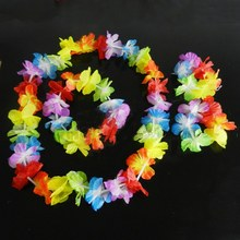 New Brand Hawaiian Summer Fancy Dress Costume Hula Flower Lei Wristband Garland SET(China)