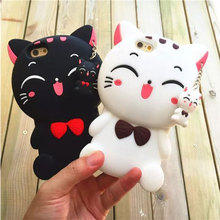 Buy Cute 3D Cartoon Fortune Cat Phone Cover iPhone X 8 7 6 6s Plus 4 4s 5S SE Case Silicone Rubber Phone Cases Smile Moon Cat 6s for $3.44 in AliExpress store