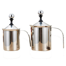YOLALA Stainless Steel automatic coffee mixing cup milk foam cappuccino milk steamer coffee maker Double Mesh coffee bardecor(China)