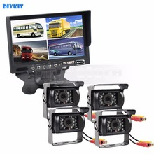 DIYKIT 7 inch 4 Split QUAD Rear View Monitor Car Monitor +4 x CCD IR Night Vision Rear View Camera Waterproof For Truck Bus(China)