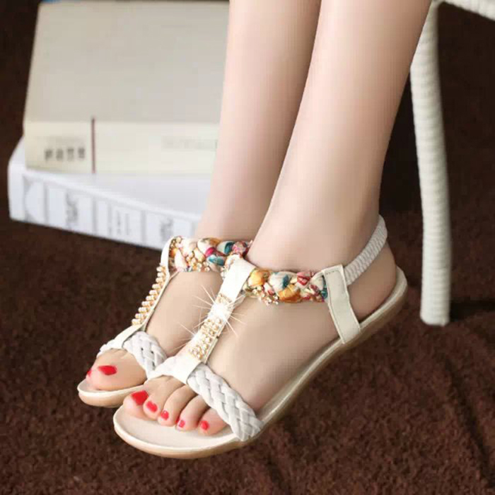 2017 rhinestone women sandals women flat elastic strap multicolour flip flop shoes casual shoes plus size 36-41 P5c62<br><br>Aliexpress