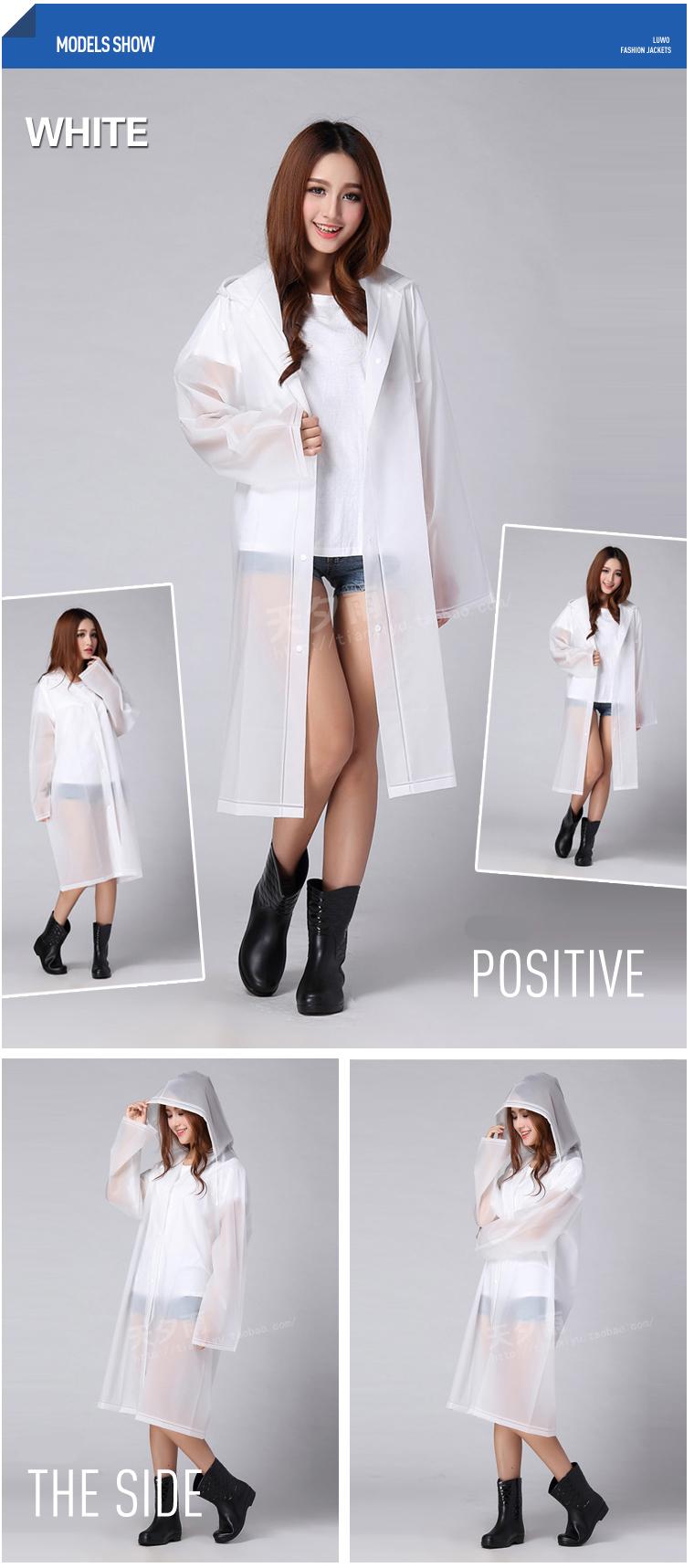 Women Transparent Portable Long Raincoats 17