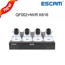 Escam 720P QF002 Indoor Pan/Tilt Wireless Network WIFI IP Camera+1080P network video recorder K616 home security systems kits