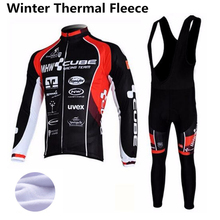 Winter Cycling Jersey Thermal Fleece Long Sleeve Racing Bike Cube Clothing MTB Cycle Clothes Wear Ropa Ciclismo Sportswear set