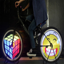Bicycle Light 128 IPX6 Waterproof Bike Lights DIY Programmable Double Sided Screen Display Image Bike LED Wheel Spoke Light(China)
