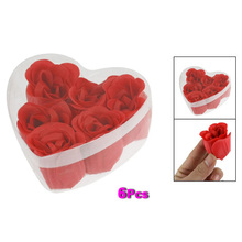 6 Pcs Red Scented Bath Soap Rose Petal in Heart Shape Box