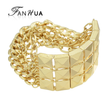 FANHUA Spikes Punk Rock Gold-Color Chain Bracelets and Bangles Pulseras Mujer New Bijoux for Women