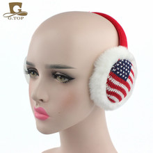 Fashion girls lady plain cable Knit Warm EarMuffs Winter Outdoor Soft Faux Plush Ear warmer christmas gift