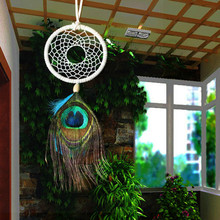 2015 New fashion jewelry big Hot White Dreamcatcher Wind Chimes Indian Style peacock Feather Pendant Dream Catcher Gift