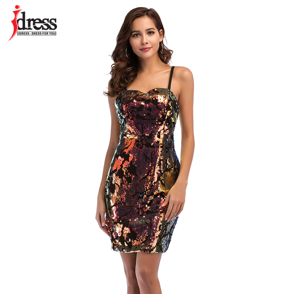... IDress Free Shipping Plus Size Sexy Party Dresses Women 2018 Summer Vestidos  Sequined Bodycon Dress Club ... 6bee1d42981c