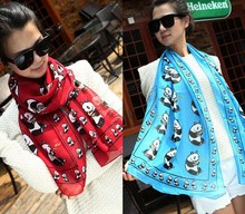 girl women panda print Scarf Scarves Stole Neckerchief FACTORY CLEARANCE SALE 160*50cm 10pcs/lot #3980(China)