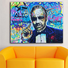 HDARTISAN Oil Painting The Godfather Alec monopoly Graffiti Art Wall Pictures For Living Room Home Decor Printed Frameless(China)