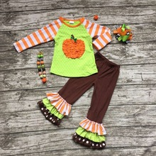 2016 Fall/Winter baby girls pumpkin striped outfits kids Halloween pant sets clothes kids ruffle with necklace and hairhows