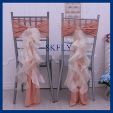 CH010E fancy wedding dusty pink and champagne ruffled chiffon and organza chair cover with square buckle(China)