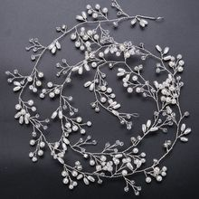 1Pc 2017 Newest Fashion Silver Wedding Pearls Hair Crystal Vine Bridal Accessories Crystal Headpiece Beautiful Nice Gift(China)