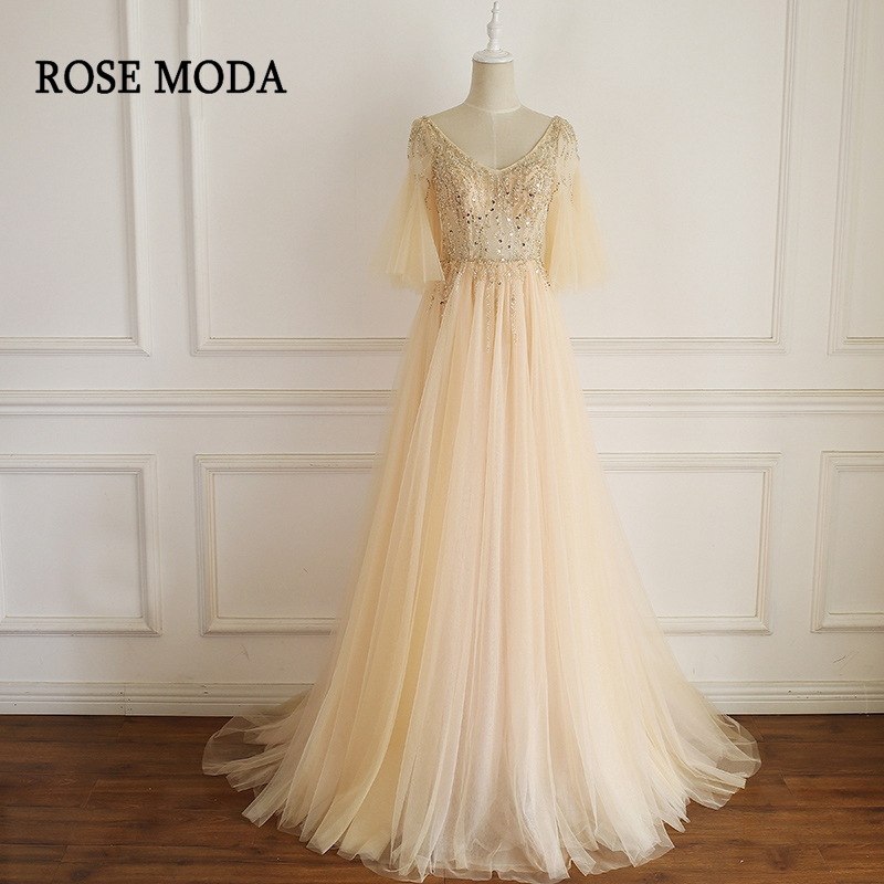 Rose Moda V Neck Champagne Floor Length Prom Dress with Sleeves Crystal Formal Long Party Dress