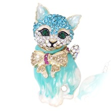 BELLA Brand New Light Blue Cartoon Cat Pet Animal Rhinestone Brooch Pins Austrian Crystal Bow Knot Brooches For Women(China)