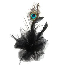 Black Flower Peacock Feather Organza Corsage Brooch Hair Clip Fascinator