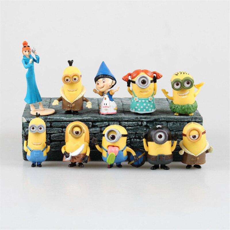 Toy set 10 pcs/set  Despicable Me 2 Minion Action Figures Minions Cosplay Toys Doll 6-9CM Q Edition pvc Brinquedos Model<br><br>Aliexpress