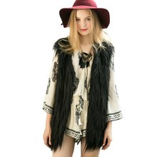 Winter Faux Fur Coat Jacket Sexy Women Basic Coats Vest Gilet Sleeveless Coat V-neck Waistcoat Special Slim long Outerwear 2017(China)
