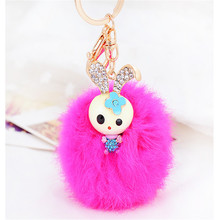European fashion drip bunny set auger maomao ball car key chain lady handbags pendant accessories manufacturers selling