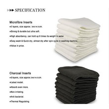 2017 New Absorbent microfiber inserts (10pcs) + Bamboo Diaper Charcoal 5 layers Inserts pads (10 pcs)(China)