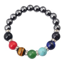 2017 Sale 8mm Hematite Stone Magnetic Hematite Beads Reiki Charms Bracelet With 7 Chakra Crystal For Women Men Healing Bangles
