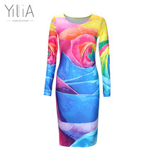 Yilia Women Clothing 2017 Spring Fall Fashion Flower Floral Print Women Dress Ladies Long Sleeve Casual Autumn Dress Vestido