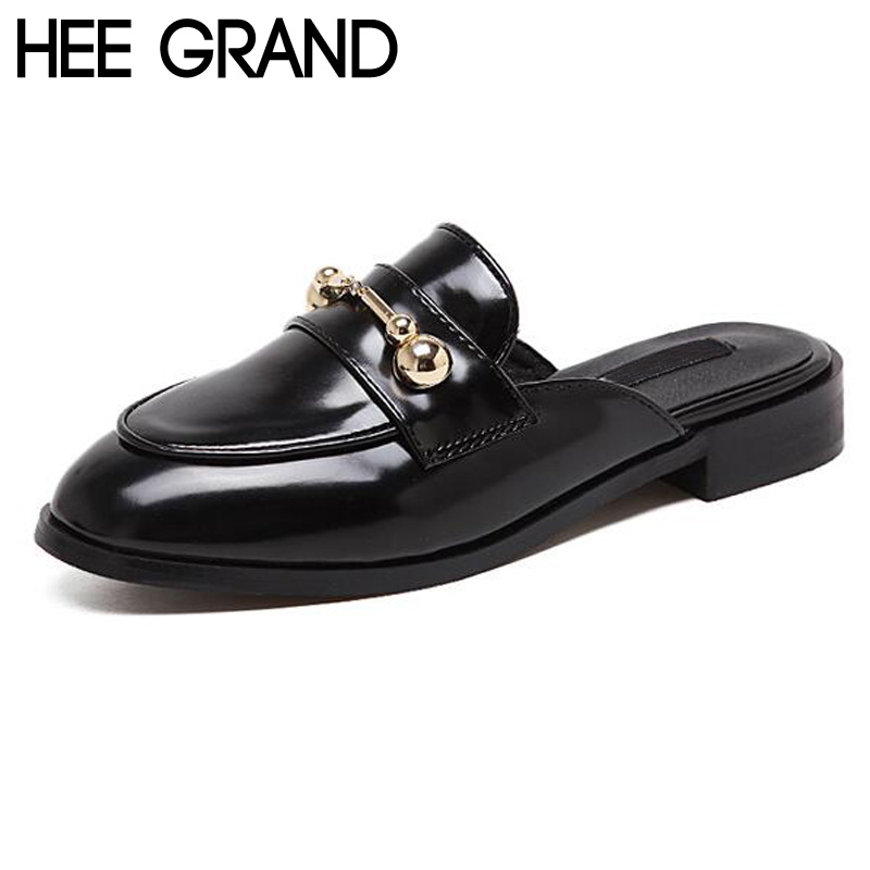 HEE GRAND Woman Flats Metal Shallow Half Slipper Spring Summer Women Sandals Flat with All-match European Style Shoes XWT627<br><br>Aliexpress