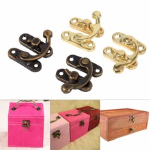 New Hot 12X Antique Decorative Jewelry Gift Wine Wooden Box Hasp Latch Hook With Screws Iron Bronze Gold Color Hooks & Rails