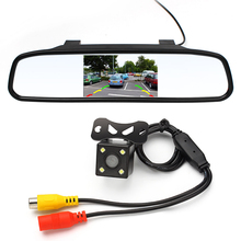 4.3 inch Car Rearview Mirror Monitor Rear View Camera CCD Video Auto Parking Assistance LED Night Vision Reversing Car-styling(China)