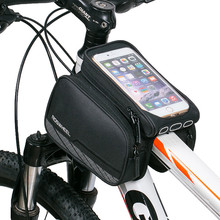 Roswheel 5.7'' Black Bicycle Front Tube Bag Mountain Bike Phone Case Bag Bicycle Bycicle Double Pannier Pouch(China)
