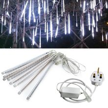 8PCS 30CM LED Meteor Shower Rain Tube Light Christmas Decoration Lamp W/ UK Plug Set Falling Raindrop Lights Holiday Tree Decor(China)
