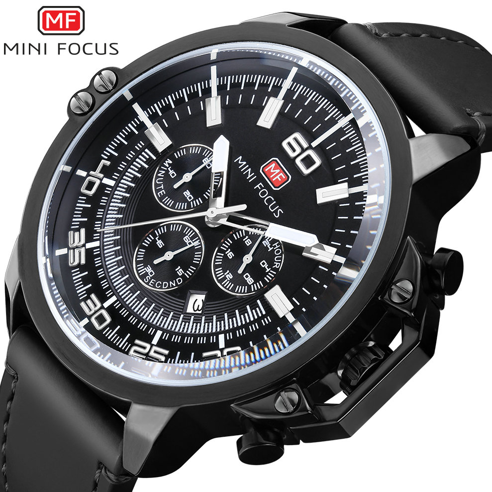 MINI FOCUS Sporty Men Quartz Watch Genuine Leather Strap 24H Date Display Cool Black Dial Boyfriend Military Analog Wristwatch<br>