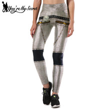 [You're My Secret] Fashion Cowboy Design Silver Leggings Women Metal Zipper Leggins Women 3D Digital Printing Slim Fitness Pants(China)